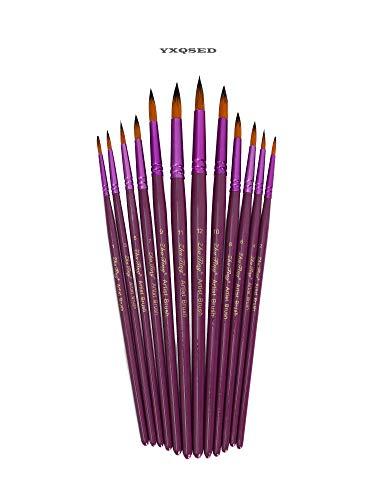 YXQSED Set de 12 Piezas de Pinceles para Pintura de Acuarela y Óleo de Acrílico,Cepillo de Acuarela Agua Plumas de Arte Cepillo de Pintura Dibujo, Diseño y Manualidades (Pincel redondo, morado)