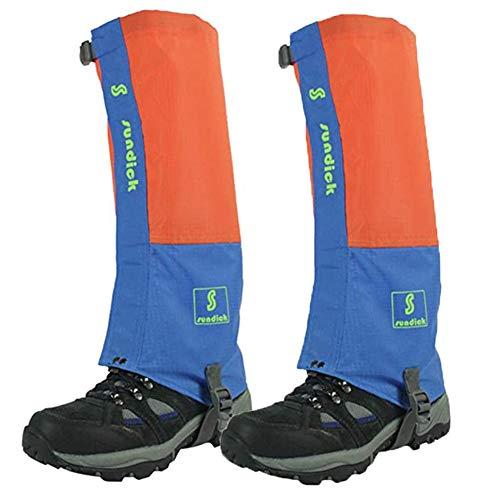 Tentock 1 Par de Polainas de Montañismo a Prueba de Nieve - Polainas para Botas de Caminar Transpirables para Cámping Caminar (Naranja)
