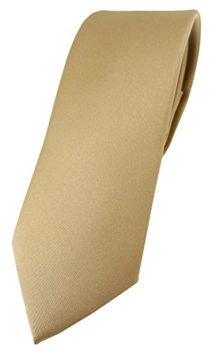 TigerTie Corbata de diseño estrecho en un solo color, ancho de corbata de 5,5 cm., dorado oscuro, Talla única