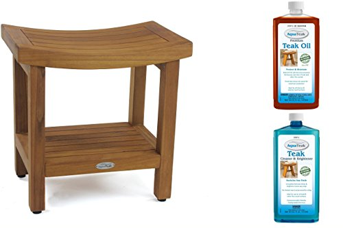 The Original Sumba 18″ Teak Shower Bench with Shelf