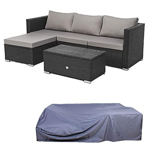 SVITA Queens Polyrattan Lounge Eck-Sofa Gartenmöbel Sitzgruppe Haube Set Schwarz