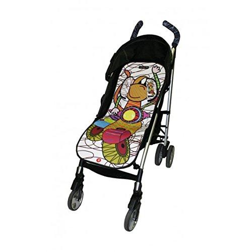 Tris&Ton colchoneta silla de paseo ligera universal para carrito cochecito bebe transpirable de microfibra modelo Moto Blanca + protección de arneses (Trisyton)