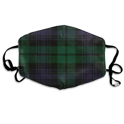 Grüne Schottische Tartan Plaid Anti Allergie verstellbare Gummiband Mundmasken für Frauen Männer Kinder,warme halbe Gesichtsmundmaske für Staub,Zahnmedizin,Camping - Anti Tierhaarallergie
