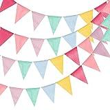 WOWOSS 4 St Wimpelkette Wimpel Banner Bunte Triangle Flag Banner Wiederverwendbare Fabric Triangle Bunting Banner für Party Hochzeit Geburtstag Abschlussfeier Baby Shower Hen Party Deko Weihnachten