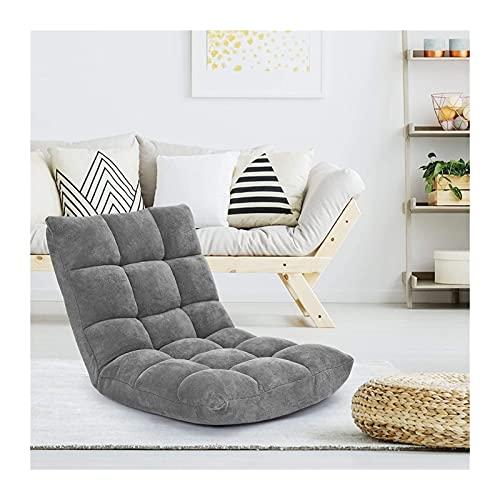 Meishikanka Sillas plegables para el suelo, silla de meditación, respaldo totalmente plegable, extraíble, gris, lavable, portátil, para sala de estar, dormitorio (color: gris)