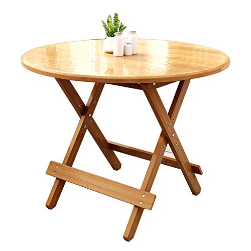 YShop Table Pliante Ronde en Bambou, Bureau de Pique-Nique réglable en Hauteur, Table de Bar, Plateau à Cartes de Jeu, Table à Manger familiale (Size : 80cm)