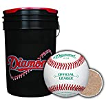 Diamond Sports Rods 6-Gallon Ball Bucket with 30 DOB Baseballs, Black