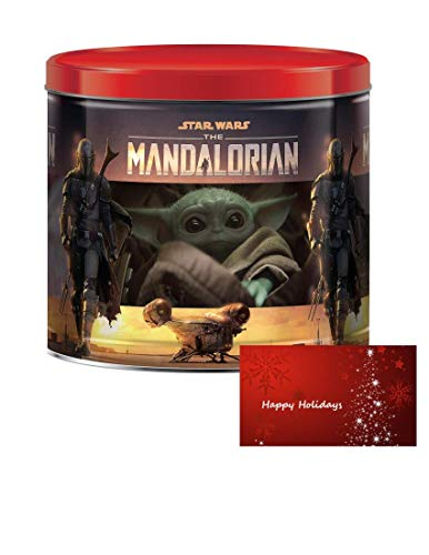 Star Wars Mandalorian Holiday Christmas Popcorn Tin with Three Assorted Flavors of Caramel, White Cheddar Cheese and Butter 22 oz Includes a Custom Gift Tag
