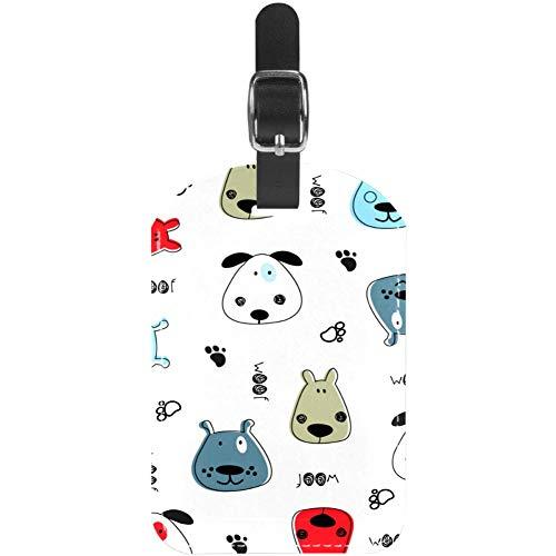 Etiquetas de Equipaje de Piel para Perros con patrón Infantil para Bolsa de identificación de Viaje, Paquete de 1