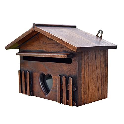 GJCrafts Briefkasten aus Holz, Abschließbar Wandmontage Mailbox Regendicht Vorschlagsbox für Gartendekoration