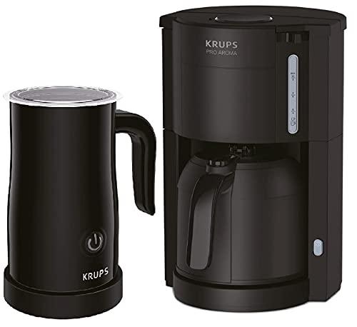 Krups KM3038-5 Filter Kaffeemaschine mit Thermo-Kanne + Elektrischer Milchaufschäumer 150ml, Kaffeeautomat für 10-15 Tassen Kaffee, Thermoskanne mit 1 Liter Fassungsvermögen, bis zu 4 Stunden Heiß