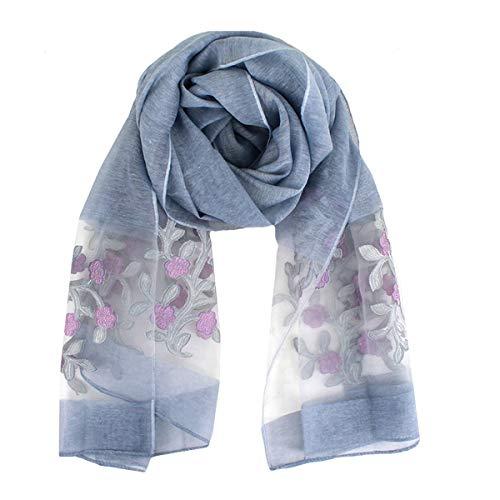 Van Caro Classy Silk Scarf - Lightweight Sunscreen Shawl Beach Towel/Scarves/Wraps for Women(Grey)