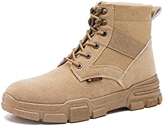 Happy-L Shoes, Classic Ankle Boots for Men Work Boot Soft Suede Flat Lace up Anti-Slip Split Joint Round Toe Rubber Sole Collision Avoidance Platform