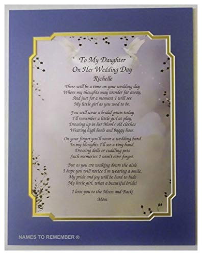 NAMES TO REMEMBER What's in a Name?'To My Daughter On Her Wedding Day' Poem Personalized Gift w/Dual Matte Border