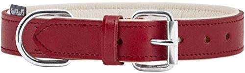 Knuffelwuff 13958-013 Weiches Lederhalsband, Hundehalsband Basic Plus, rot