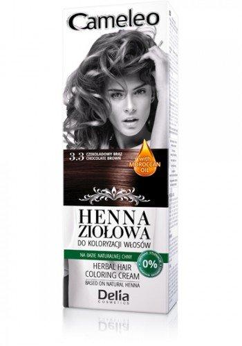 Cameleo Haarfarbe mit natürlichem Henna-Extrakt und marokkanischem Öl, pflanzlich, schokoladenbraun, 75 g