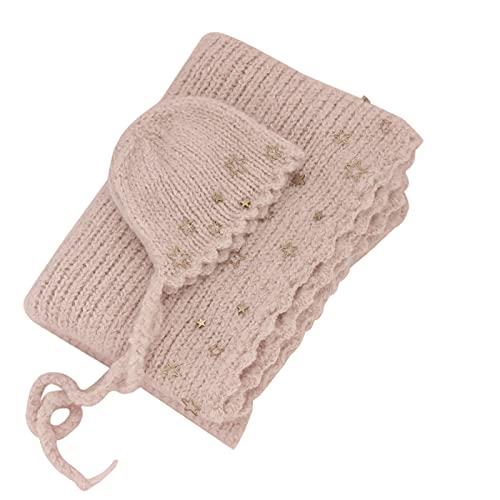 Soapow Conjunto de sombrero para fotografía recién nacida, disfraz de estrellas, 0 – 1 mes