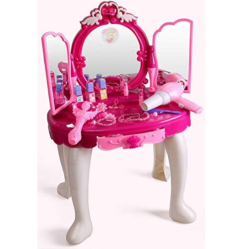 Juego de mesa de tocador para niños Regalo de cumpleaños Día de la Niña Simulación Dresser casa del juego del juguete for niños Cosméticos for niños de 3-6 años de niños de juguete Dresser