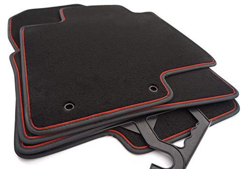 kh Teile Fußmatten passend für Hyundai i20 (ab 2020) Velours Original Qualität Automatten, Rot, 4-teilig