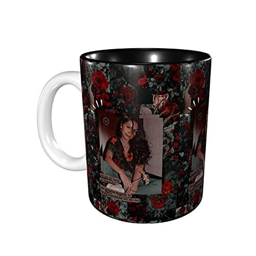 DJNGN Tazas novedosas de Ales-Sia Cara, prácticas tazas/tazas de café, 11 onzas de interesantes tazas de café, color negro