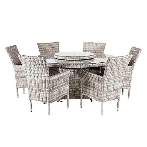 Edenjardi Conjunto Muebles Exterior, Mesa Redonda 150 cm y 6 sillones reclinables, Aluminio y rattán sintético Plano Color Gris, 6 plazas, Cristal Templado 5 mm con Agujero para Parasol de 48