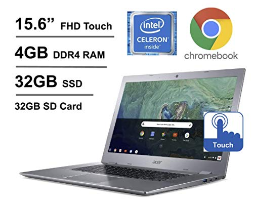 2020 Newest Acer Chromebook 15.6 Inch Full HD Touch Laptop, Intel Celeron N3350 up to 2.4 GHz, 4GB RAM, 32GB eMMC + Oydisen 32GB SD Card, WiFi, Bluetooth, Webcam, Chrome OS (Google Classroom Ready)
