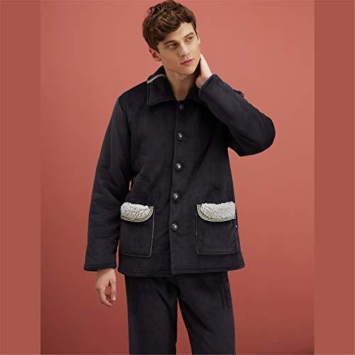 Atecou Warmes Langarm-Pyjama-Set für Herren,weiches 2-teiliges...