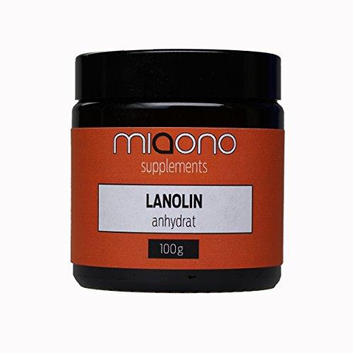 Grasa de lana anhidrato de Miaono   sin agua   ideal como adición para cremas y pomadas – 100 g en tarro de cristal