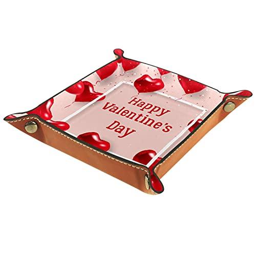 Bandeja de Cuero Feliz día de San Valentín Corazones rojos Almacenamiento Bandeja Organizador Bandeja de Almacenamiento Multifunción de Piel para Relojes,Llaves