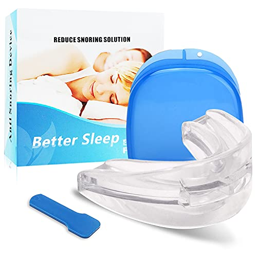 The Original Snore Stopper Devices Effective/Easy Stop Snoring Solution Mouth Guard, Anti Snoring Mouthpiece Snore Reducing Aids Natural and Comfortable Sleep for Men Women (Blue Clear)