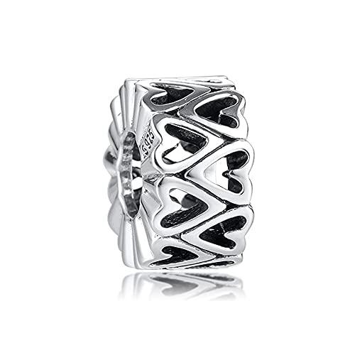 Pandora 925 plata esterlina colgante DIY Qandocci San Valentín calado corazón espaciador encantos granos para la fabricación de joyería única pulsera encaja