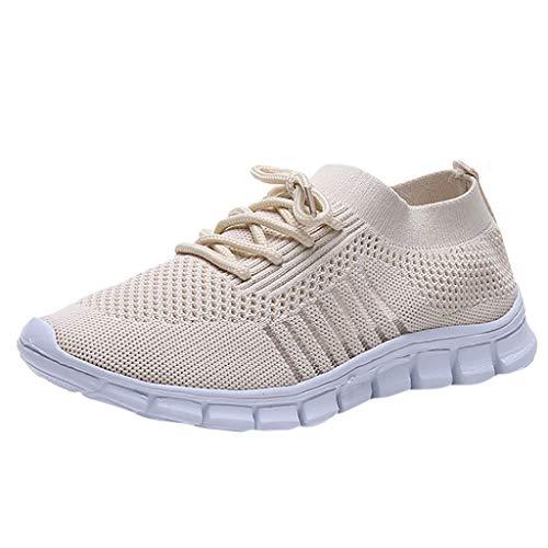 Damen Laufschuhe Fliegen Weben Sneaker Socken Schuhe Turnschuhe Freizeitschuhe Student Leichte Sportschuhe für Trainning Running Fitness Gym Walking Jogging Laufen, Beige, 40 EU