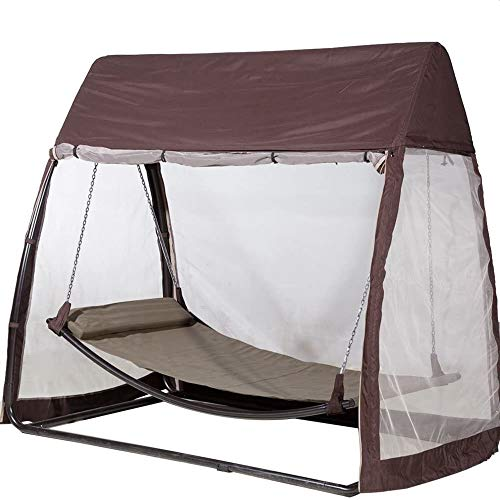 Abba Patio Outdoor Swing Hammock with Mosquito Net, Canopy Swing Bed for Patio, Porch, Backyard, 8'L x 5'W x 7'H, Chocolate