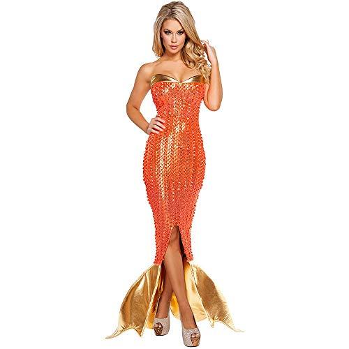 Dames Stijl in Zee Zwemmen Vrouwen Zeemeermin Staart Aqua Prinses Koningin Rok PU Leer Goud Oranje Kleur Meisjes Halloween Kerst Cosplay Cartoon Kostuum Mode Bikini Party