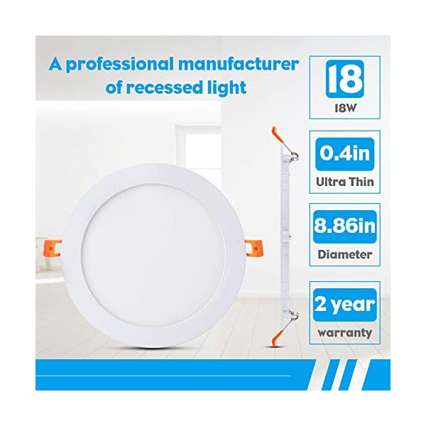 JARLSTAR 6 Pack 8 Inch Ultra-Thin LED Recessed Ceiling Light with Junction Box, 6000K Daylight, 18W 110V Eqv Recessed…