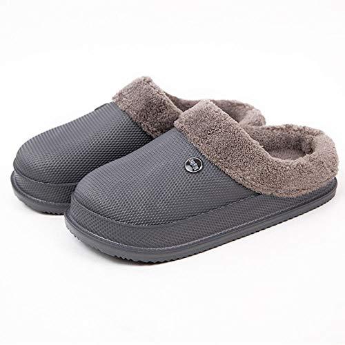 B/H Suave Flat Slipper Zapatillas de casa,Pantofole invernali in Cotone impermeabile EVA, puntale antiscivolo Scarpe calde-Grigio_42-43,Zapatillas de Felpa Acolchadas para Interiores de Invierno