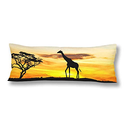 JamirtyRoy1 Divertida funda de almohada de cuerpo de jirafa con cremallera, 53 x 137 cm, funda de almohada rectangular para sofá, cama, decoración