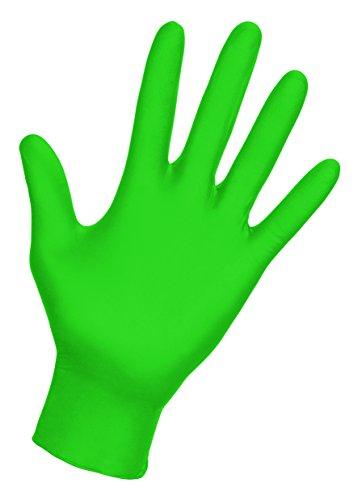 SAS Safety 66551 Derma-VUE Powder-Free Exam Grade 6 Mil Nitrile Gloves, Medium, Neon Green