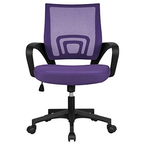Yaheetech Silla de Oficina Silla de Malla Altura Ajustable para Trabajo Silla Escritorio Ergonómica Giratoria Violeta