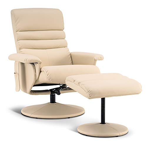 Mcombo Recliner with Ottoman, Reclining Chair with Massage, 360 Swivel Living Room Chair Faux Leather, 7902 (Creme White)