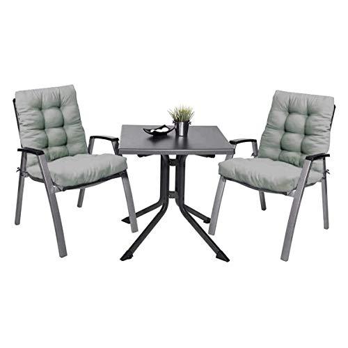 Pack 2 Cojines con Respaldo de Silla Jardin Conjunto Cojin de Asiento para Interior y Exterior Cómodo. Cojines para sillas Comedor, mecedoras, bancosterraza (Gris)