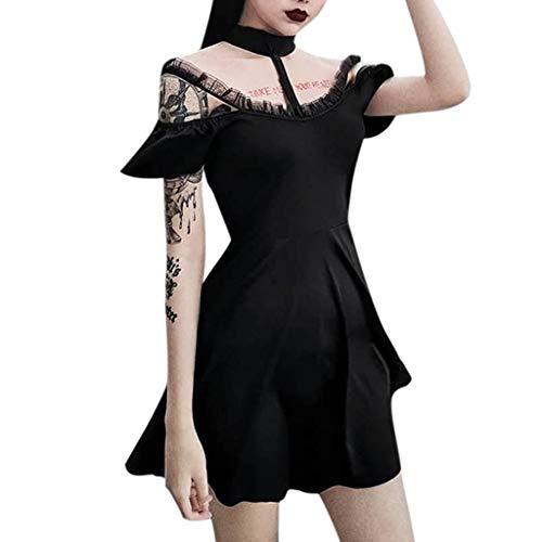 Kleid Gothic Frauen Fashion Vintage Romantic Casual Kleid Piebo Damen Mittelalter Kostüm Kurzarm Minikleid Bodycon Kleid Street Punk Sexy Schulterfrei Cosplay Kleid mit Choker Moon Verzierung