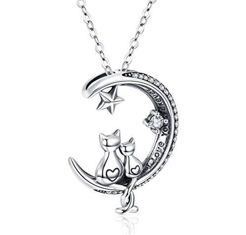 Katze Halskette, S925 Sterling Silber Katze auf Mond Anhänger Geschenk für Frauen Mädchen
