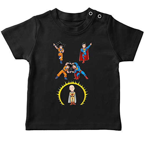 One-Punch Man - Dragon Ball Super - Superman Grappig zwart baby T-shirt - Saitama, Son-Goku en Superman (One Punch Man - Dragon Ball Super - Superman Parodie) (Ref: 1131)