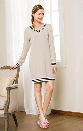 QX Manica Lunga Cotone Camicia da Notte Vestaglia Autunno Nightwear Ultima Donna Che può Essere Indossato all'aperto, Linen, XXL (170/92a)