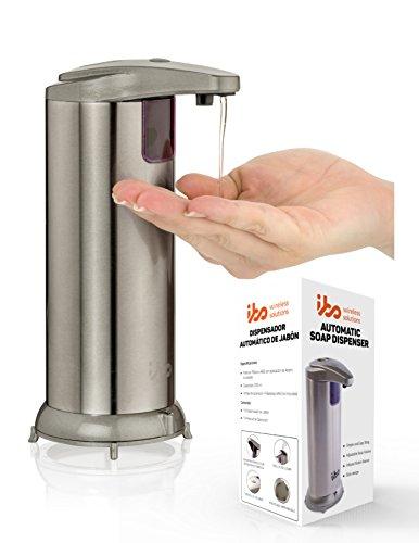 ibo Dispensador Jabon Automatico De Liquidos Manos Libres Acero Inoxidable Impermeable para Cocina Y Baño Touchless Soap Dispenser 240 Ml