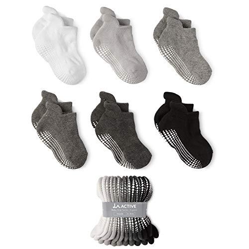LA Active Socken - 6 Paar - Baby Kleinkind Säugling Neugeborenes - Anti Rutsch/Rutschfest Grip Knöchelsocken (Graustufen, 12-36 Monate)