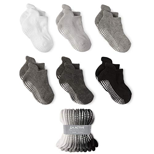 LA Active Baby Toddler Grip Ankle Socks - 6 Pairs - Non Slip/Skid Covered (Grayscale, 12-36 Months)