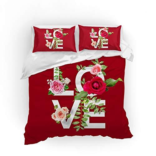 NYLIN Funda Nórdica Rosa Juego De Ropa De Cama Amor Romántico Rojo Flash Colcha 2/3/4PCS Fundas De Edredón Nórdico/Almohada/Sábanas,para Cama 90/135/150/180 (200×200cm-Cama 135/140-3PCS,01)