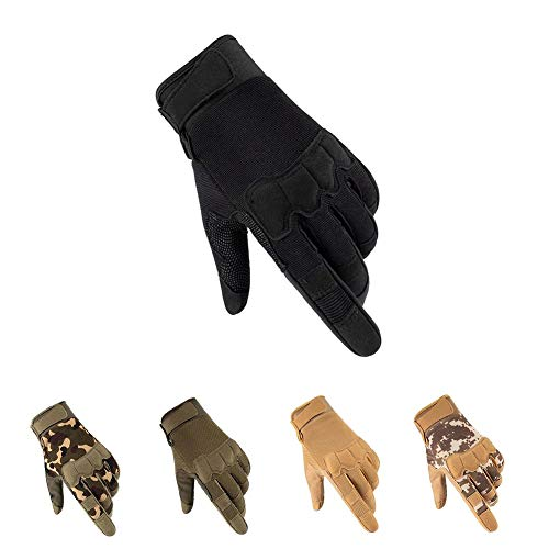 HYCOPROT Full Finger Tactical Gloves, Touch Screen Knuckle Protective Breathable Lightweight Outdoor Military Gloves for Shooting, Hunting, Motorcycling, Climbing (Medium, Black)
